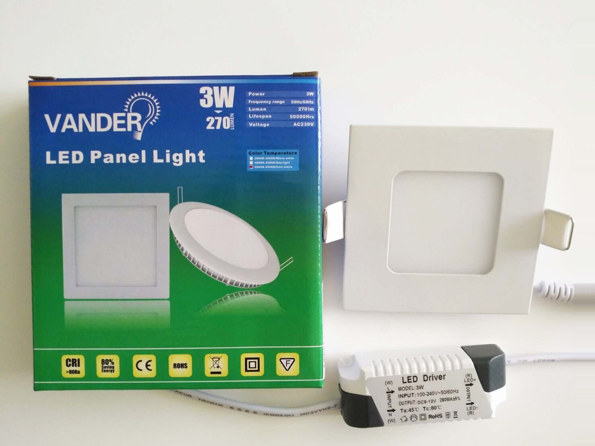 Colorful box package LED panel light 3W