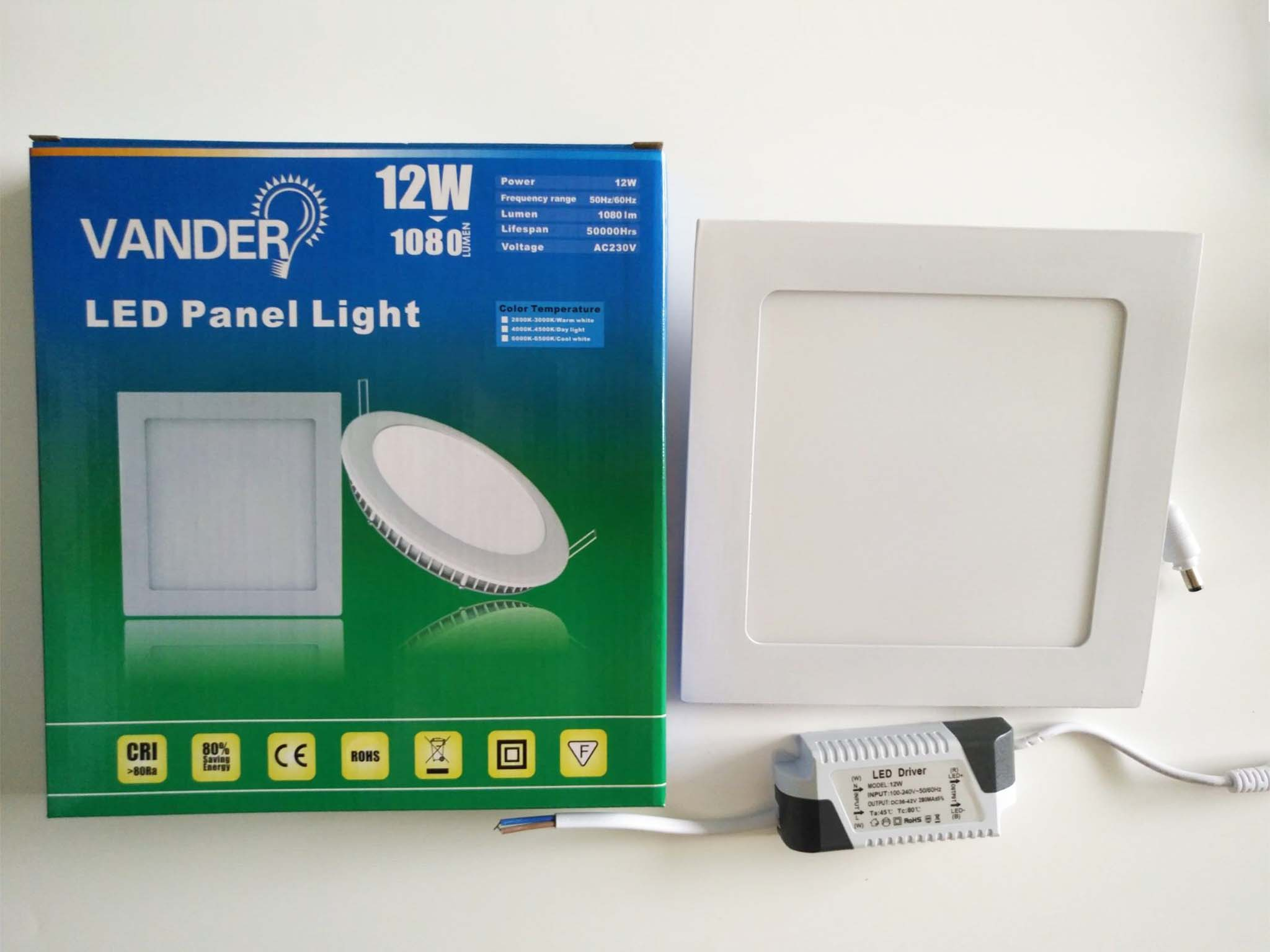 Colorful box package LED panel light 12W