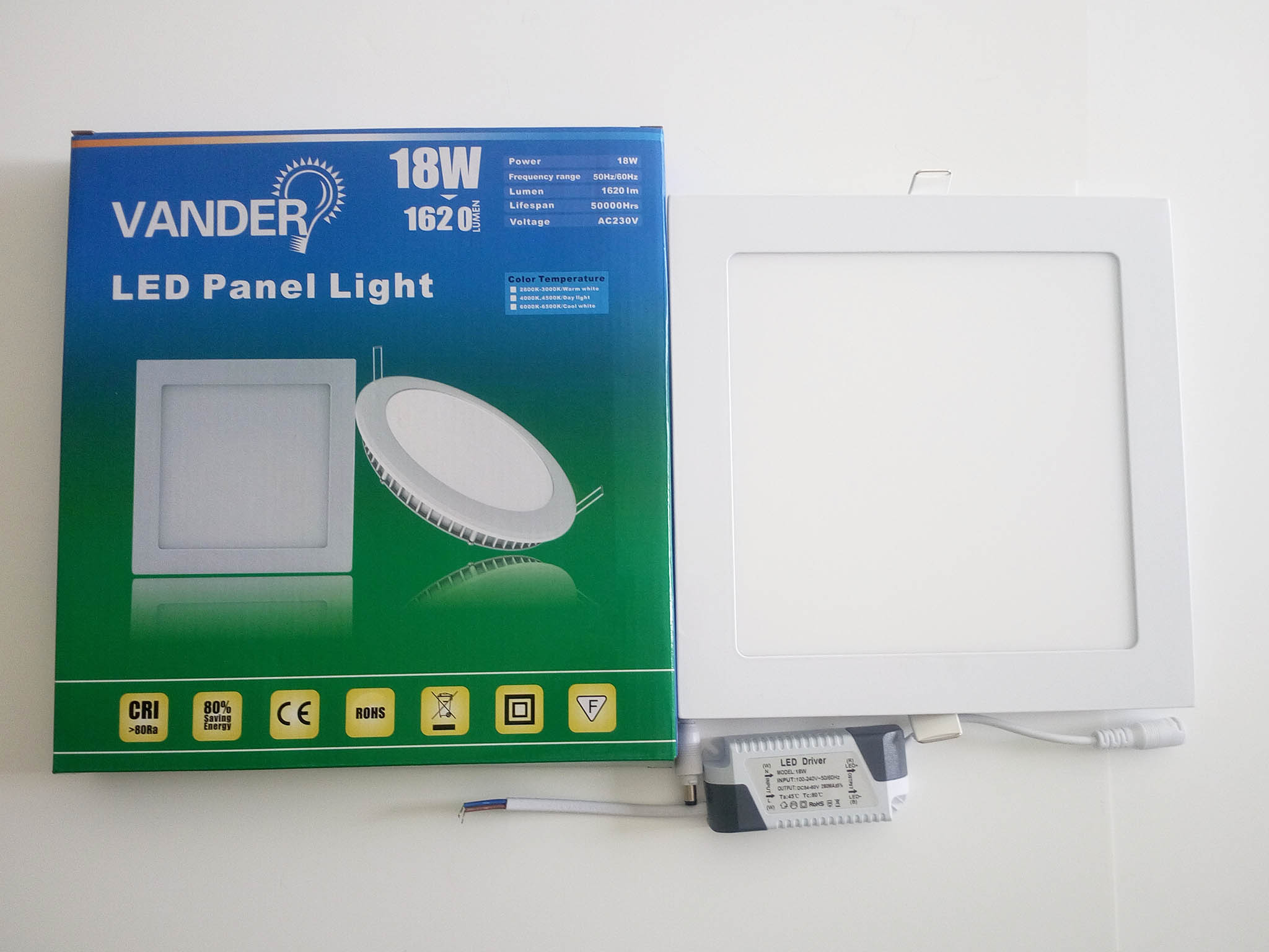 Colorful box package LED panel light 18W